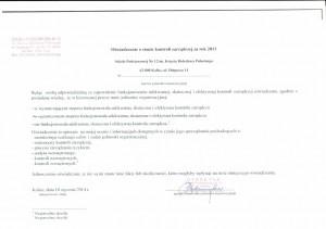 Oświadczenie o stanie kontroli zarządczej